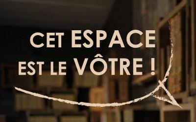 Cet espace est la votre !